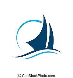 csónakázik, vitorlázás, vektor, ábra, jel, jacht, hajó, tervezés