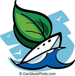 csónakázik, vitorlázik, zöld