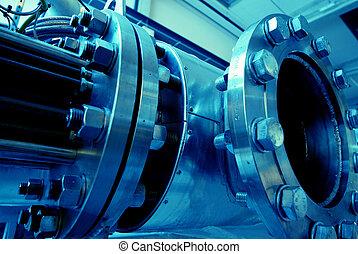 csövek, csövek, gépezet, és, gőz, turbina, -ban, egy,...