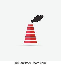 csövek, ikon, kibocsátás, dohányzik, gyár
