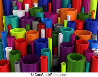csövek, ipari, színes, műanyag
