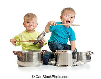 csúfol, gyerekek, főzés, elszigetelt, együtt, ők, játék