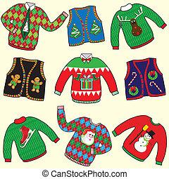 csúnya, karácsony, pulóver