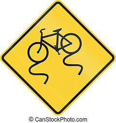 csúszós, bicikli, -, amikor, nedves