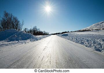 csúszós, tél, út