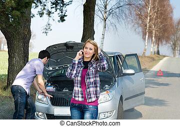 csőd, autó, párosít, hívás, segítség, út