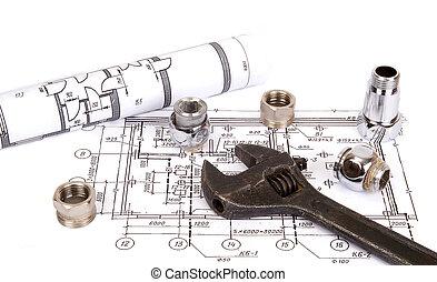 csőhálózat házi, alkatrészek, és, eszközök, helyett, rajz, closeup