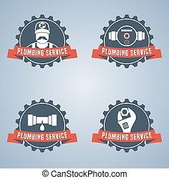 csőhálózat házi, jel, vektor, állhatatos, szolgáltatás