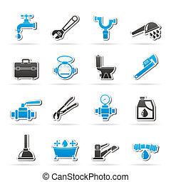 csőhálózat házi, kifogásol, és, eszközök, ikonok