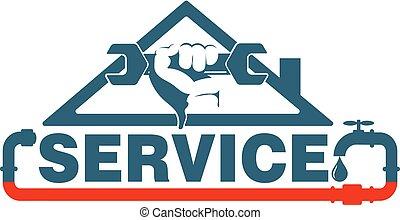 csőhálózat házi, rendbehozás, vektor, fenntartás