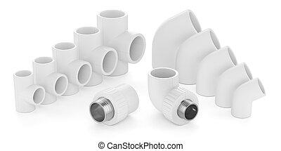 csővezeték, állhatatos, alkatrészek, elszigetelt, műanyag, víz, háttér, fehér, 3