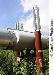 csővezeték, exchangers, alaszka, fűt, keresztül, állandóan fagyott altalaj