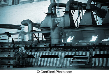 csővezeték, felszerelés, alatt, egy, gyár