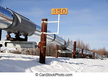 csővezeték, olaj, fairbanks, tél, alaszka