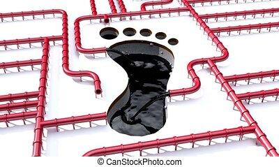 csővezeték, olaj, lábnyom, klíma, pipa, lábfej, piros, nyomtat, indigó, egyenes, cserél, 4k