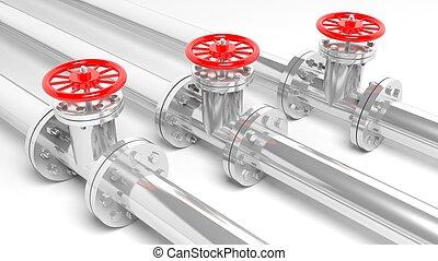 csővezetékek, fehér, elszigetelt, fémből való