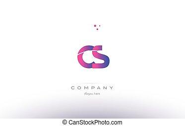 Cs C S Creative Letters Design With White Pink Colors Cs C S