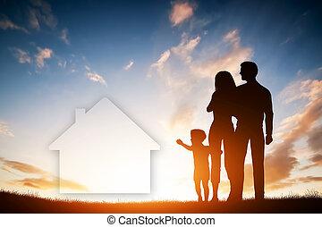 család, álmodik mindenfelé, egy, új épület, home., gyermek, parents.