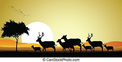 család, árnykép, őz