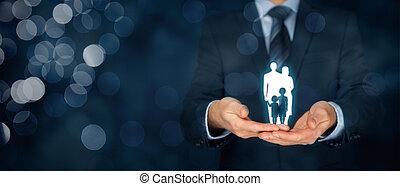 család élet, biztosítás, és, politika