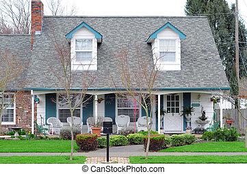 család, épület, alatt, szomszédság