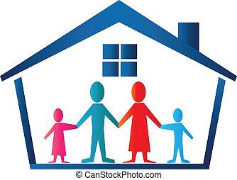 család, épület, jel, vektor