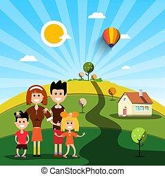 család, épület, napos, mező, nap, boldog