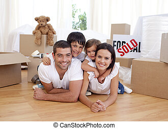 család, épület, után, új, vásárlás, boldog