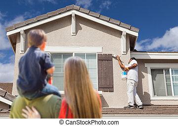 család, őrzés, festett, épület, beszerez, fiatal, szobafestő