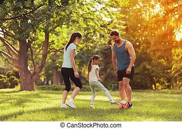 család, a parkban, játék, football., ők, játék, egy, piros, focilabda