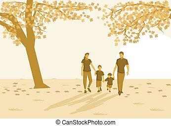 család, a parkban