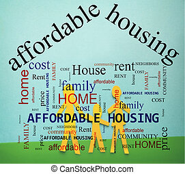 család, affordable, ház