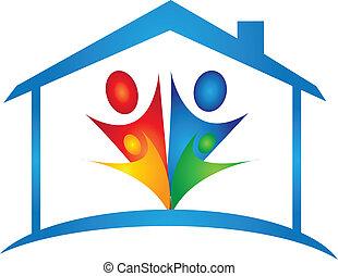 család, alatt, egy, új épület, jel, vektor
