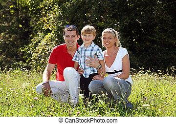 család, alatt, egy, kaszáló
