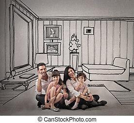 család, alatt, húzott, otthon