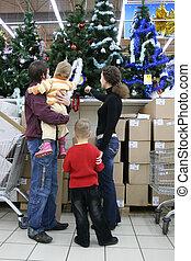 család, alatt, karácsony, bolt