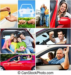 család, autó.