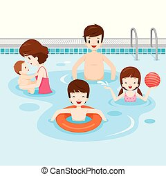 család, bágyasztó, pocsolya, úszás