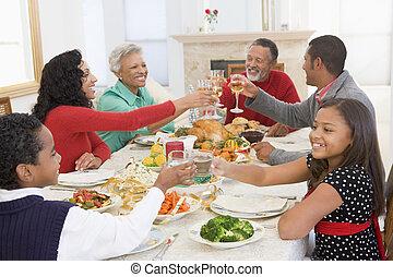 család, együtt, -ban, christmas vacsora