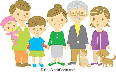 család, együtt, tele hosszúság