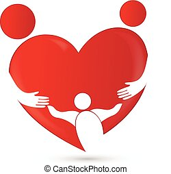 család, egyesítés, alatt, egy, szív alakzat, jel