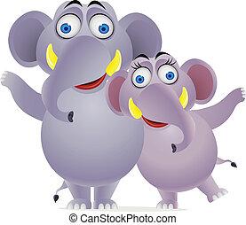 család, elefánt