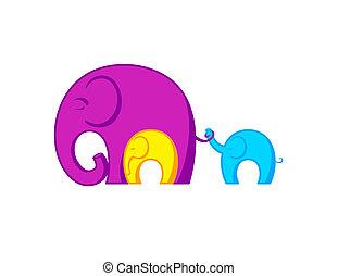 család, elefántok