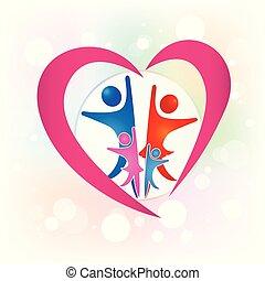 család, emberek in egy, szeret szív, jel