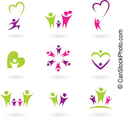 család, emberek, (, p, rokonság, ikon, gyűjtés, rózsaszínű, zöld