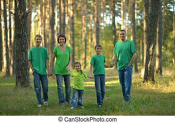 család, erdő, gyalogló
