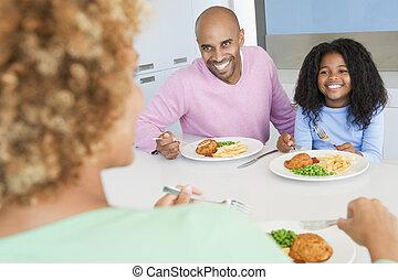 család eszik, egy, étkezés, együtt