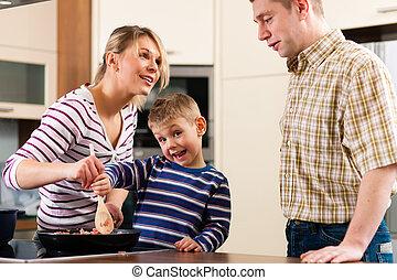 család főz, alatt, konyha