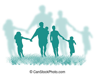 család, fű