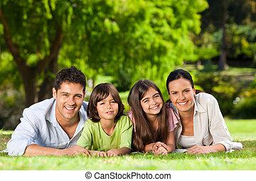 család, fekvő, a parkban